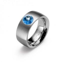 Ocelový prsten Oliver Weber - Phrase Steel 68013 (lt. sapphire)