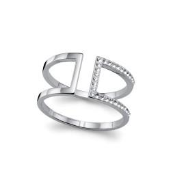 Stříbrný prsten Stop - 63212 (crystal)