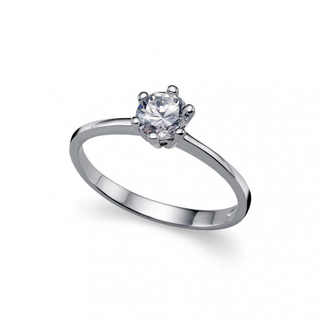 Stříbrný prsten Brilliance - 63215 (crystal)