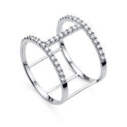 Stříbrný prsten Oliver Weber Tunnel - 63230 (crystal)
