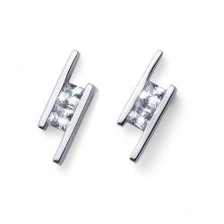 Stříbrné náušnice Oliver Weber Foursquare - 62078 - Ag925 (crystal)