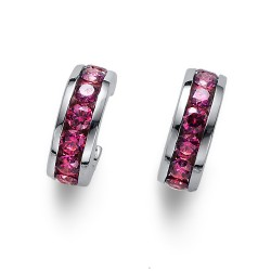 Stříbrné náušnice Oliver Weber Circle - 62074 - Ag925 (pink)