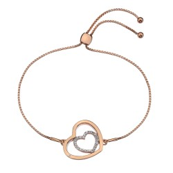 Stříbrný náramek Hot Diamonds Adorable Encased Rose Gold DL575