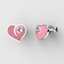 Dětské zlaté náušnice BeKid - 1283 srdce - růžové