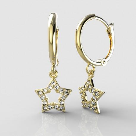 Dětské zlaté náušnice BeKid - 826 hvězdička - kruhy 1340 (žluté zlato Au585)