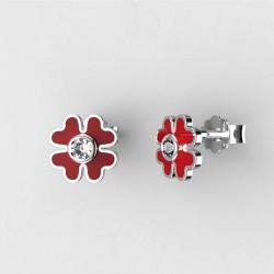 Dětské zlaté náušnice BeKid - 1270 čtyřlístek - červený