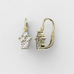 Dětské zlaté náušnice s diamanty BeKid M - 159 (žluté zlato)