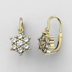 Dětské zlaté náušnice s diamanty BeKid M - 109 (žluté zlato)