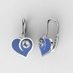 Dětské zlaté náušnice BeKid M - 1283 srdce - modré