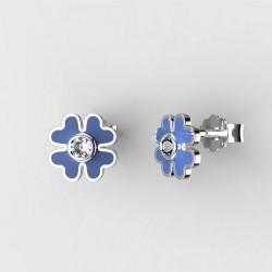 Dětské zlaté náušnice BeKid - 1270 čtyřlístek - modrý