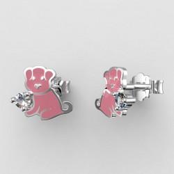 Dětské zlaté náušnice BeKid - 1281 štěně - růžové