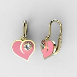Dětské zlaté náušnice BeKid M - 1283 srdce - růžové