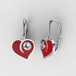 Dětské zlaté náušnice BeKid M - 1283 srdce - červené