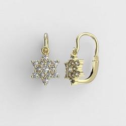 Dětské zlaté náušnice s diamanty BeKid M - 090 (žluté zlato)