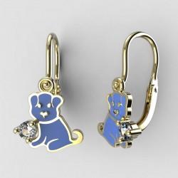 Dětské zlaté náušnice BeKid M - 1281 štěně - modré