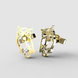 Dětské zlaté náušnice BeKid - 1185 sova (žluté zlato Au585)