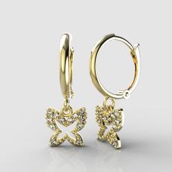 Dětské zlaté náušnice BeKid - 846 motýlek - kruhy 1340 (žluté zlato Au585)