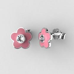 Dětské zlaté náušnice BeKid - 1277 květina - růžové