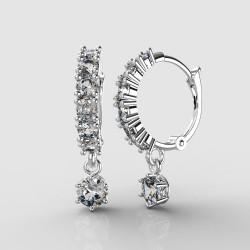 Dětské zlaté náušnice BeKid - 1293 crystal M - kruhy 1347 (bílé zlato Au585)