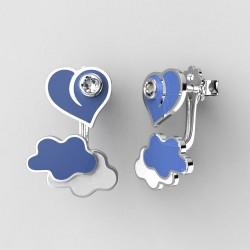 Dětské zlaté náušnice BeKid P - 1283 srdce v oblacích - modré