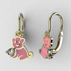 Dětské zlaté náušnice BeKid M - 1281 štěně - růžové
