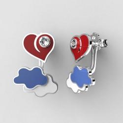 Dětské zlaté náušnice BeKid P - 1283 srdce v oblacích - červené