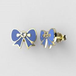 Dětské zlaté náušnice BeKid - 1279 mašlička - modré