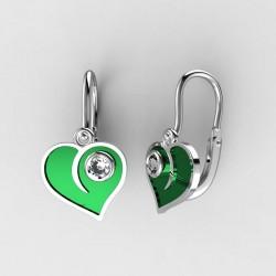 Dětské zlaté náušnice BeKid M - 1283 srdce - zelené