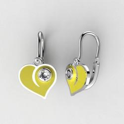 Dětské zlaté náušnice BeKid M - 1283 srdce - žluté