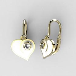 Dětské zlaté náušnice BeKid M - 1283 srdce - bílé