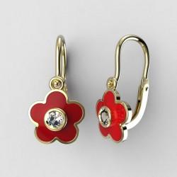315030590 Dětské zlaté náušnice BeKid M - 1277 květina - červené