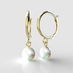 Dětské zlaté náušnice BeKid - 1291 perla - kruhy 1340 (žluté zlato Au585)
