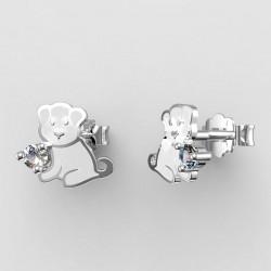Dětské zlaté náušnice BeKid - 1281 štěně - bílé