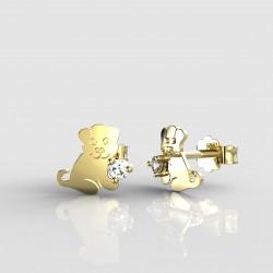 Dětské zlaté náušnice BeKid - 1281 štěně (žluté zlato Au585)