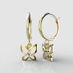 Dětské zlaté náušnice BeKid - 844 motýlek - kruhy 1340 (žluté zlato Au585)