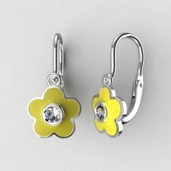 Dětské zlaté náušnice BeKid M - 1277 květina - žluté