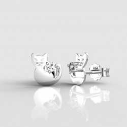 Dětské zlaté náušnice BeKid - 1276 kočička (bílé zlato Au585)