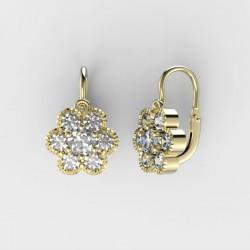 Dětské zlaté náušnice s diamanty BeKid M - 140 (žluté zlato)