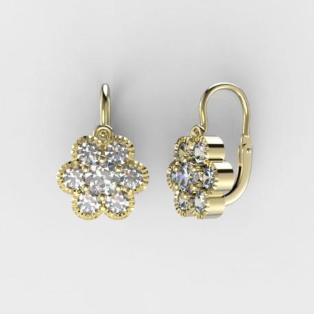 abbf65f82 Doprava 0,- Dětské zlaté náušnice s diamanty BeKid M - 140 (žluté zlato)