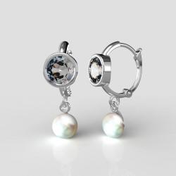 Dětské zlaté náušnice BeKid - 1290 perla - kruhy Z1341 (bílé zlato Au585)
