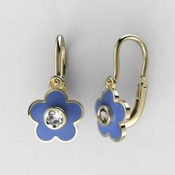 Dětské zlaté náušnice BeKid M - 1277 květina - modré
