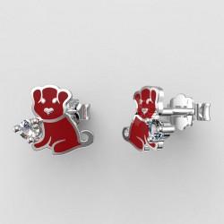 Dětské zlaté náušnice BeKid - 1281 štěně - červené
