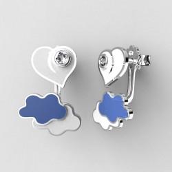 Dětské zlaté náušnice BeKid P - 1283 srdce v oblacích - bílé