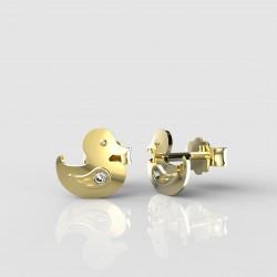 Dětské zlaté náušnice BeKid - 1275 kachnička (žluté zlato Au585)