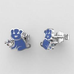 Dětské zlaté náušnice BeKid - 1281 štěně - modré