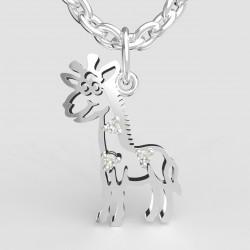 Dětský zlatý přívěsek BeKid - Žirafa 1189 (bílé zlato Au585)