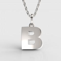 Dětský zlatý přívěsek BeKid (písmenko B) - 1611 (bílé zlato Au585)