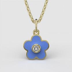 Dětský zlatý přívěsek BeKid - 1277 květina - modrý