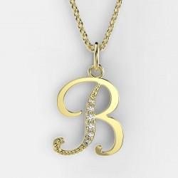 Dětský zlatý přívěsek BeKid (písmenko B) - 1211 (žluté zlato Au585)