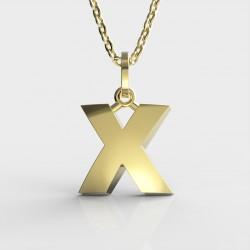 Dětský zlatý přívěsek BeKid (písmenko X) - 1632 (žluté zlato Au585)